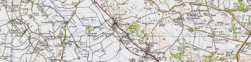 Old map of Rodney Stoke in 1946