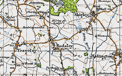 Old map of Rodsley in 1946