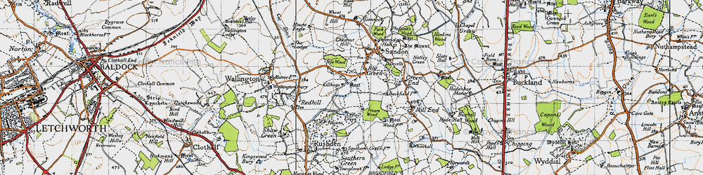 Old map of Roe Green in 1946