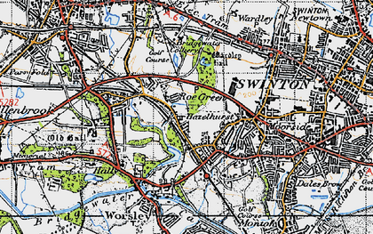 Old map of Roe Green in 1947