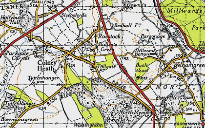 Old map of Roestock in 1946