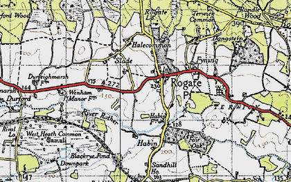 Old map of Rogate in 1945