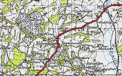 Old map of Rolvenden in 1940