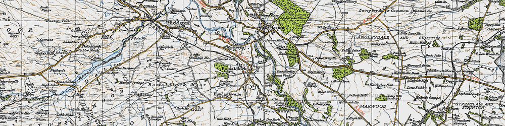 Old map of Romaldkirk in 1947