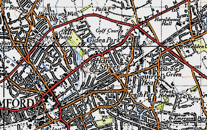 Old map of Romford in 1946