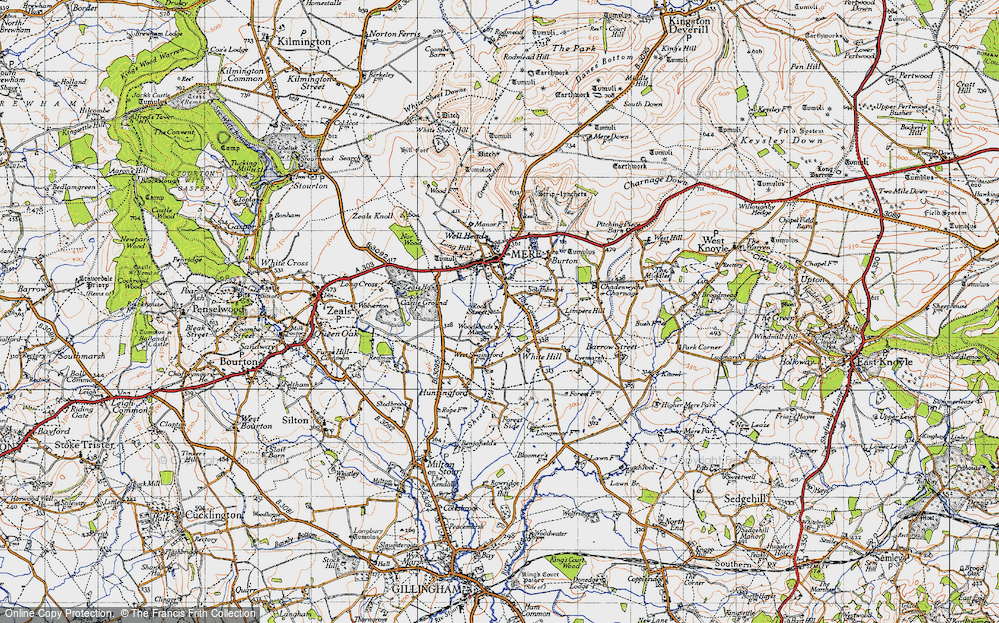 Old Map of Historic Map covering Woodlands Manor in 1945