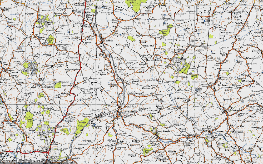 Old Map of Historic Map covering Likely Hill in 1946