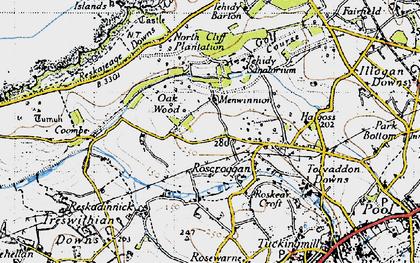 Old map of Roscroggan in 1946