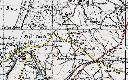 Old map of Rose in 1946