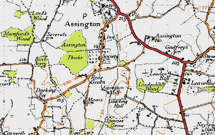 Old map of Assington Thicks in 1946
