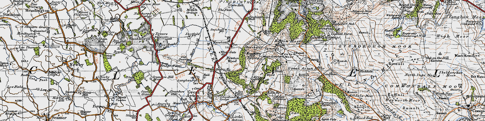 Old map of Roseberry Topping in 1947