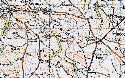 Old map of Rosecare in 1946