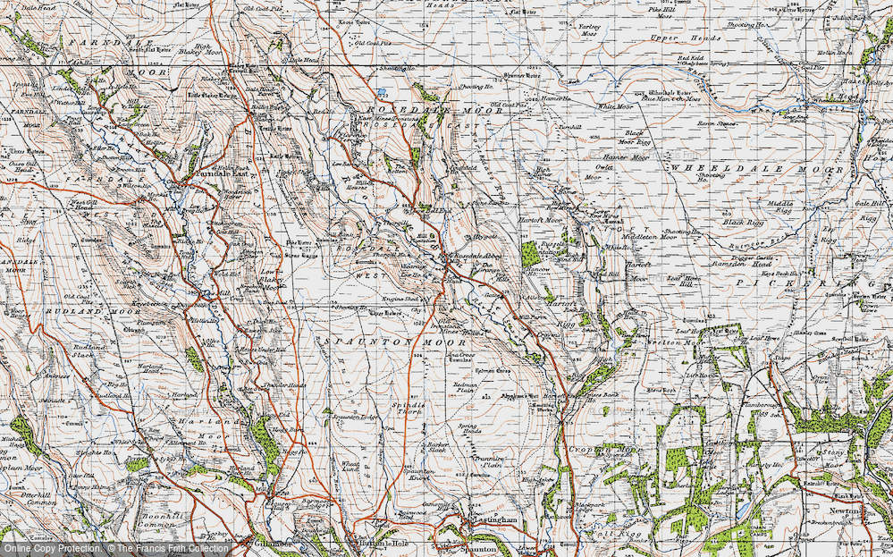 Old Map of Historic Map covering Bank Top in 1947