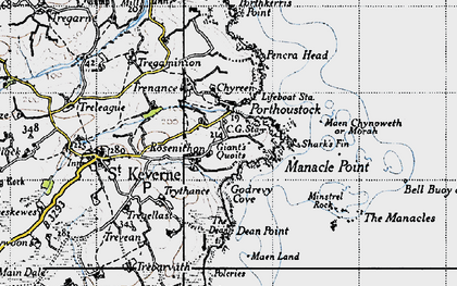 Old map of Rosenithon in 1946