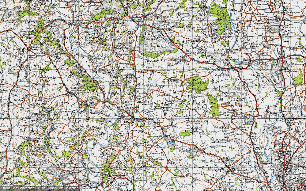 Old Map of Historic Map covering Laughern Brook in 1947