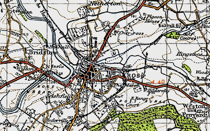Old map of Ross-on-Wye in 1947