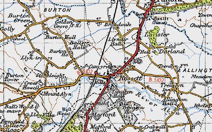 Old map of Rossett in 1947