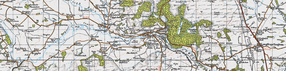 Old map of Whittondean in 1947