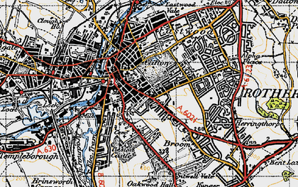 Old map of Rotherham in 1947