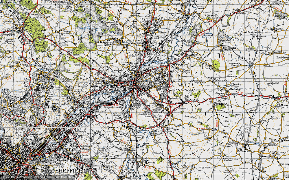Map of Rotherham 1947 Francis Frith