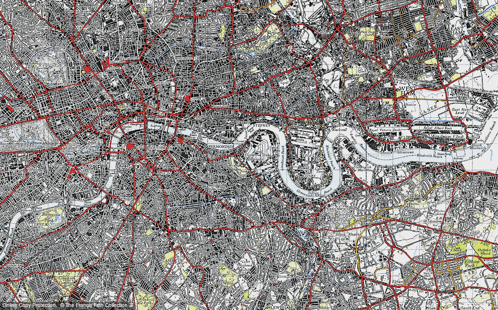 Old Map of Historic Map covering Limehouse Reach in 1946
