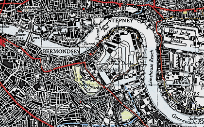 Old map of Limehouse Reach in 1946