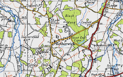 Old map of Rotherwick in 1940