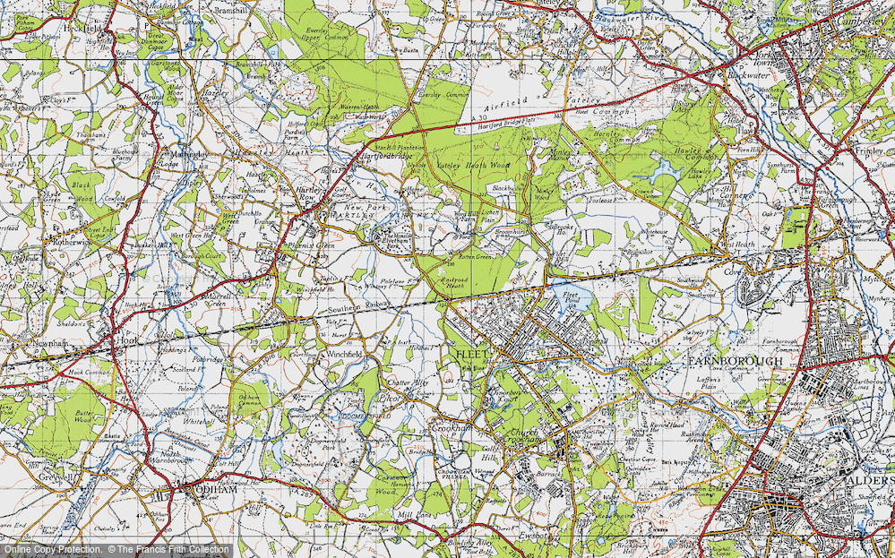 Old Map of Historic Map covering Lichett Plain in 1940