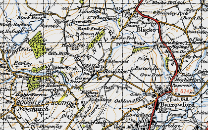 Old map of Roughlee in 1947