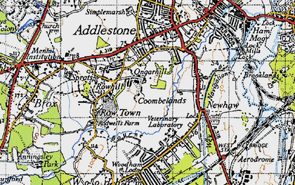 Old map of Row Town in 1940