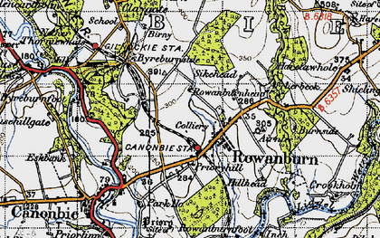 Old map of Airnlee in 1947