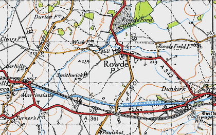 Old map of Rowde in 1940