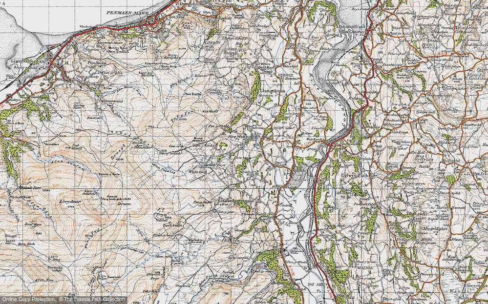 Old Map of Historic Map covering Afon Tafolog in 1947