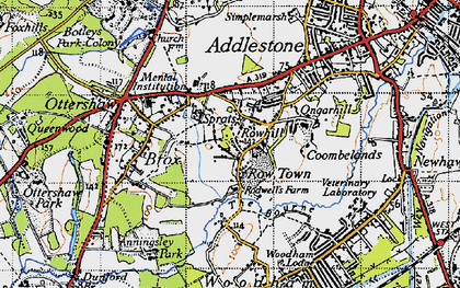 Old map of Rowhill in 1940