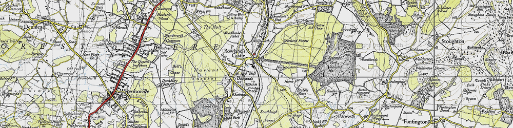 Old map of Rowlands Castle in 1945
