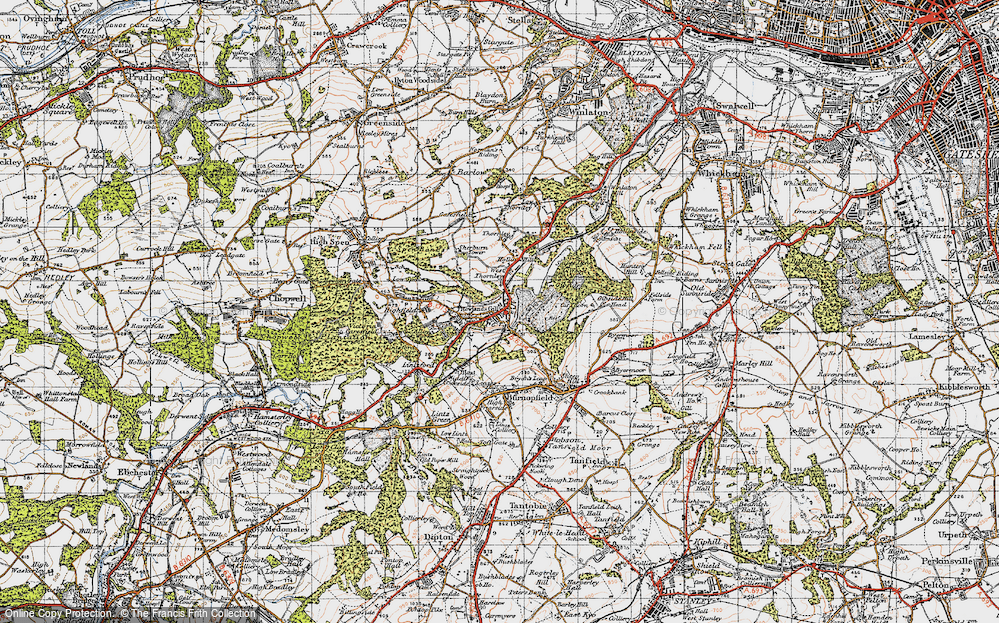 Old Map of Historic Map covering Leazes Hall in 1947