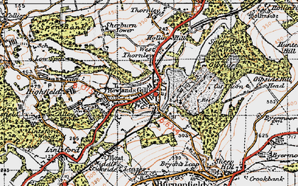 Old map of Rowlands Gill in 1947
