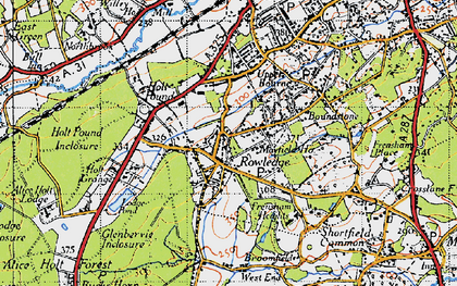 Old map of Rowledge in 1940