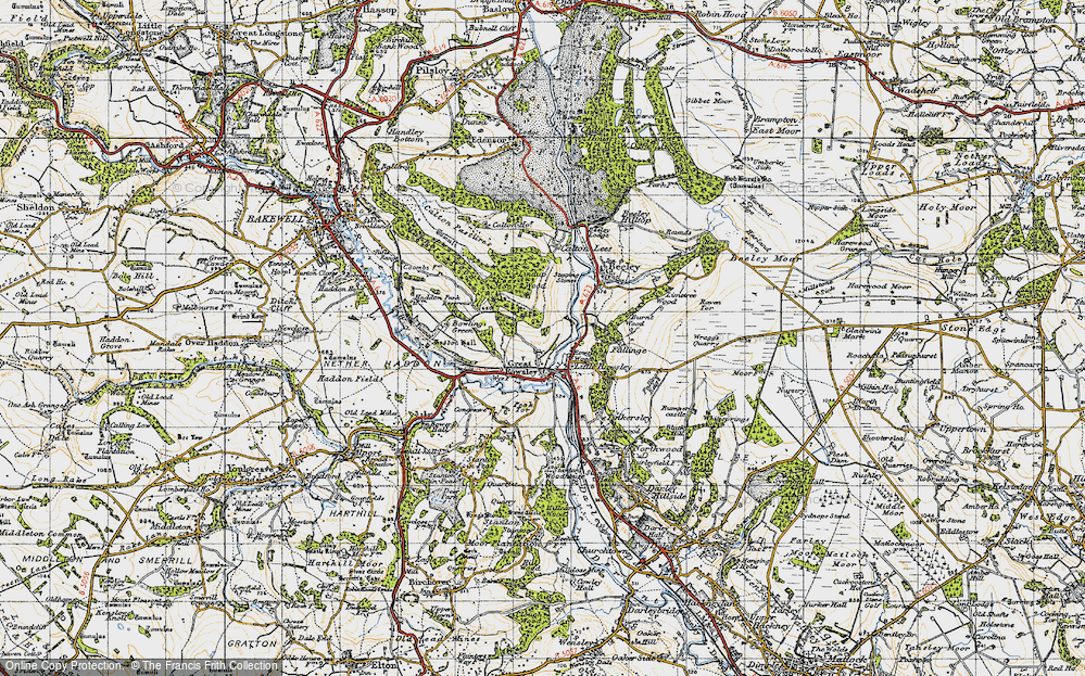 Old Map of Historic Map covering Lindop Wood in 1947