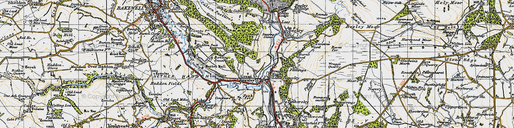 Old map of Rowsley in 1947