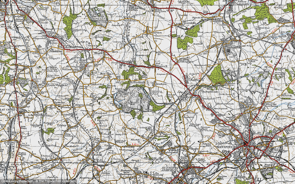 Old Map of Historic Map covering Hardwick Hall in 1947