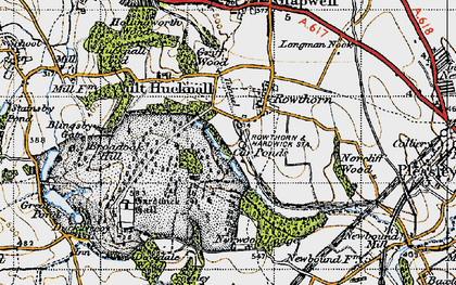 Old map of Hardwick Hall in 1947