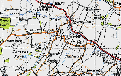 Old map of Roxwell in 1946