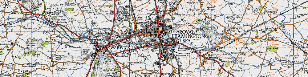 Old map of Leamington Spa in 1946