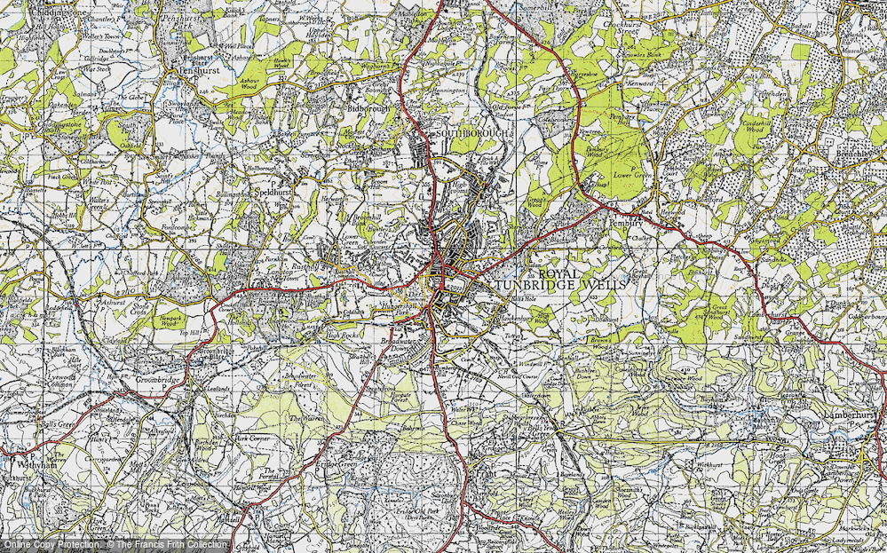 Map of Royal Tunbridge Wells 1946 Francis Frith