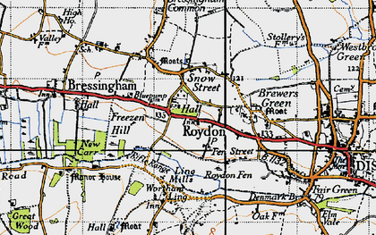 Old map of Wortham Ling in 1946