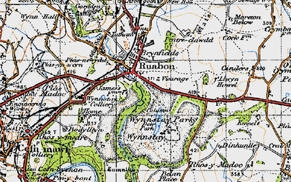 Old map of Ruabon in 1947