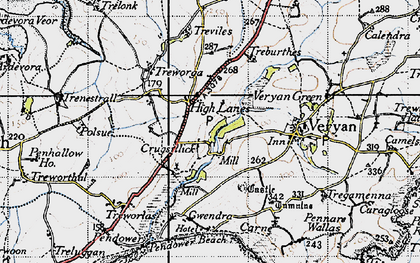 Old map of Ruan High Lanes in 1946
