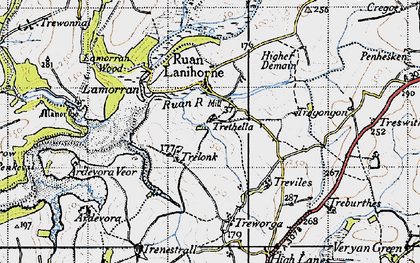 Old map of Ruan Lanihorne in 1946
