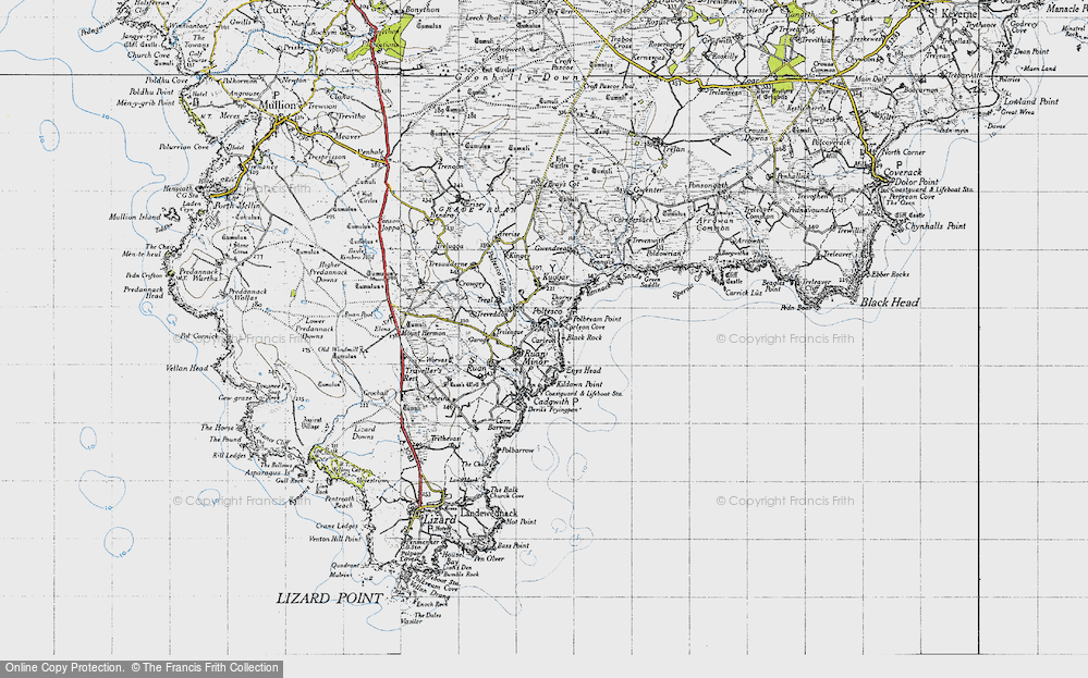 Old Map of Ruan Minor, 1946 in 1946